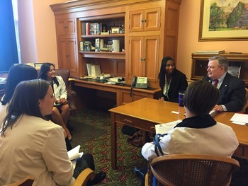 Senator Tom Sawyer D-Akron meets with student pharmacist constituents.
